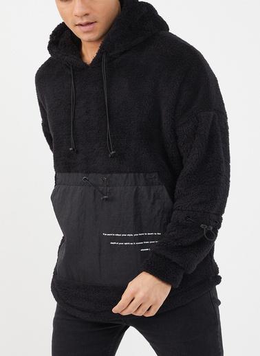XHAN Siyah Kapüşonlu Kanguru Cepli Polar Sweatshirt 1Kxe8-44468-02 Siyah